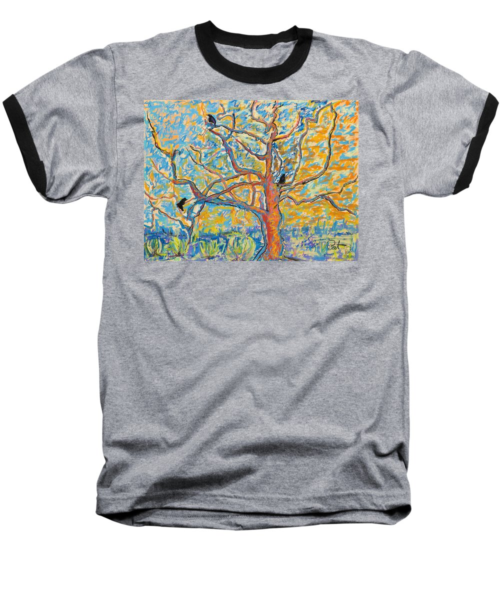 Abstract Painting Baseball T-Shirt featuring the mixed media The Wind Dancers by Pat Saunders-White