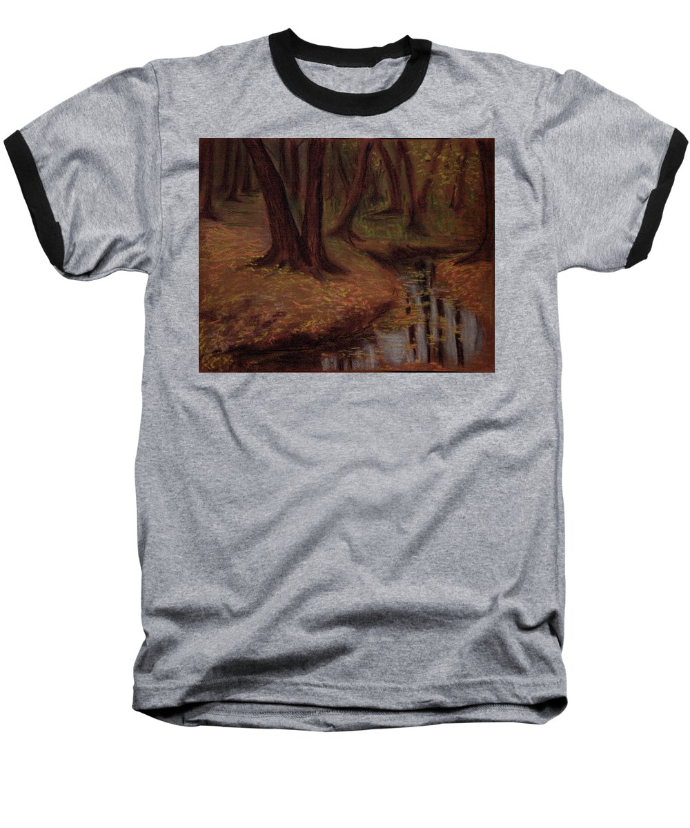 Woods Baseball T-Shirt featuring the pastel The Woods Are Deep And Dark by Asha Sudhaker Shenoy