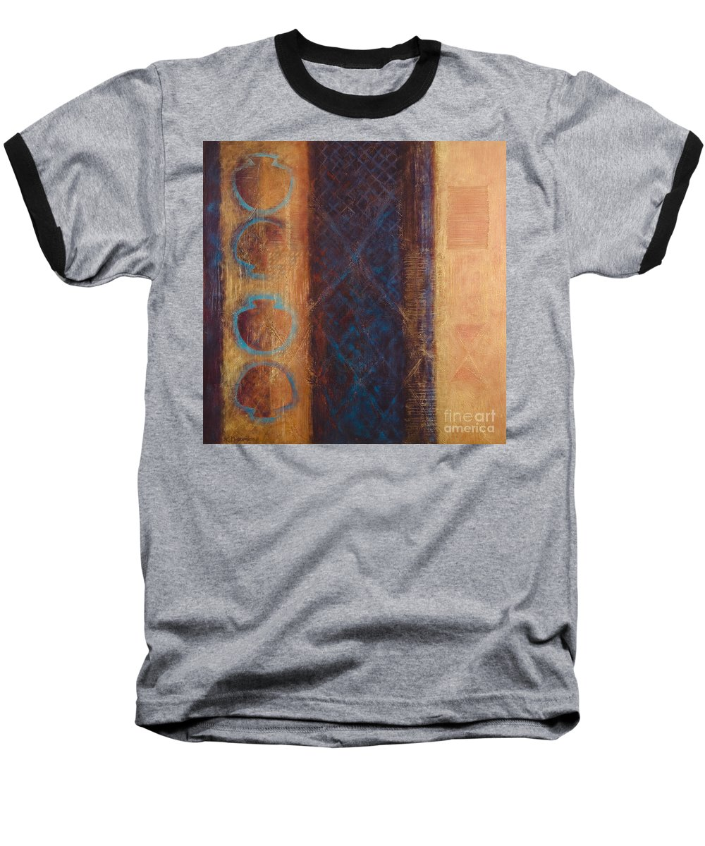 Abstract Baseball T-Shirt featuring the painting The X Factor Alchemy Of Consciousness by Kerryn Madsen-Pietsch