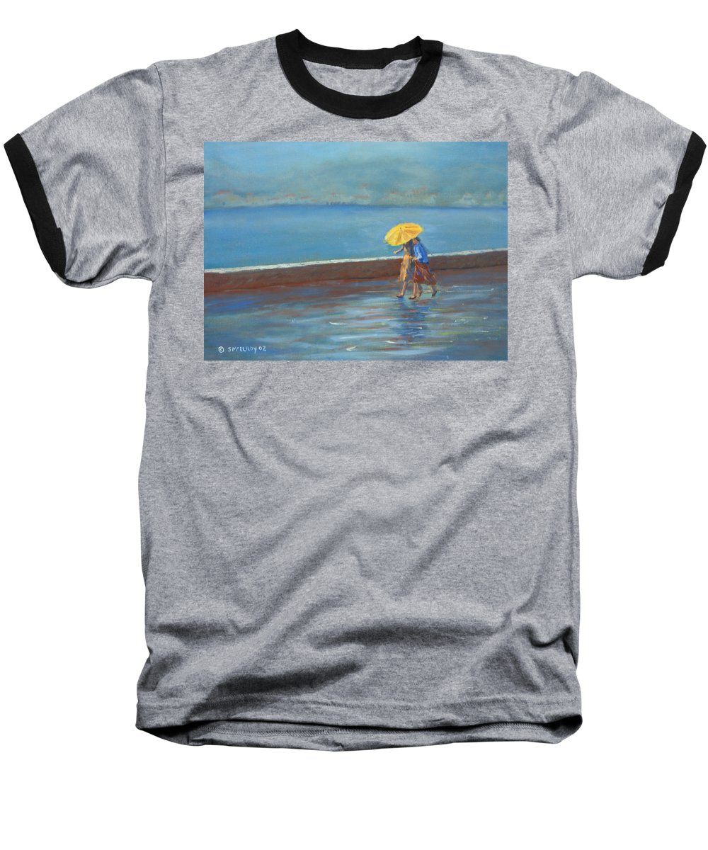 Rain Baseball T-Shirt featuring the painting The Yellow Umbrella by Jerry McElroy