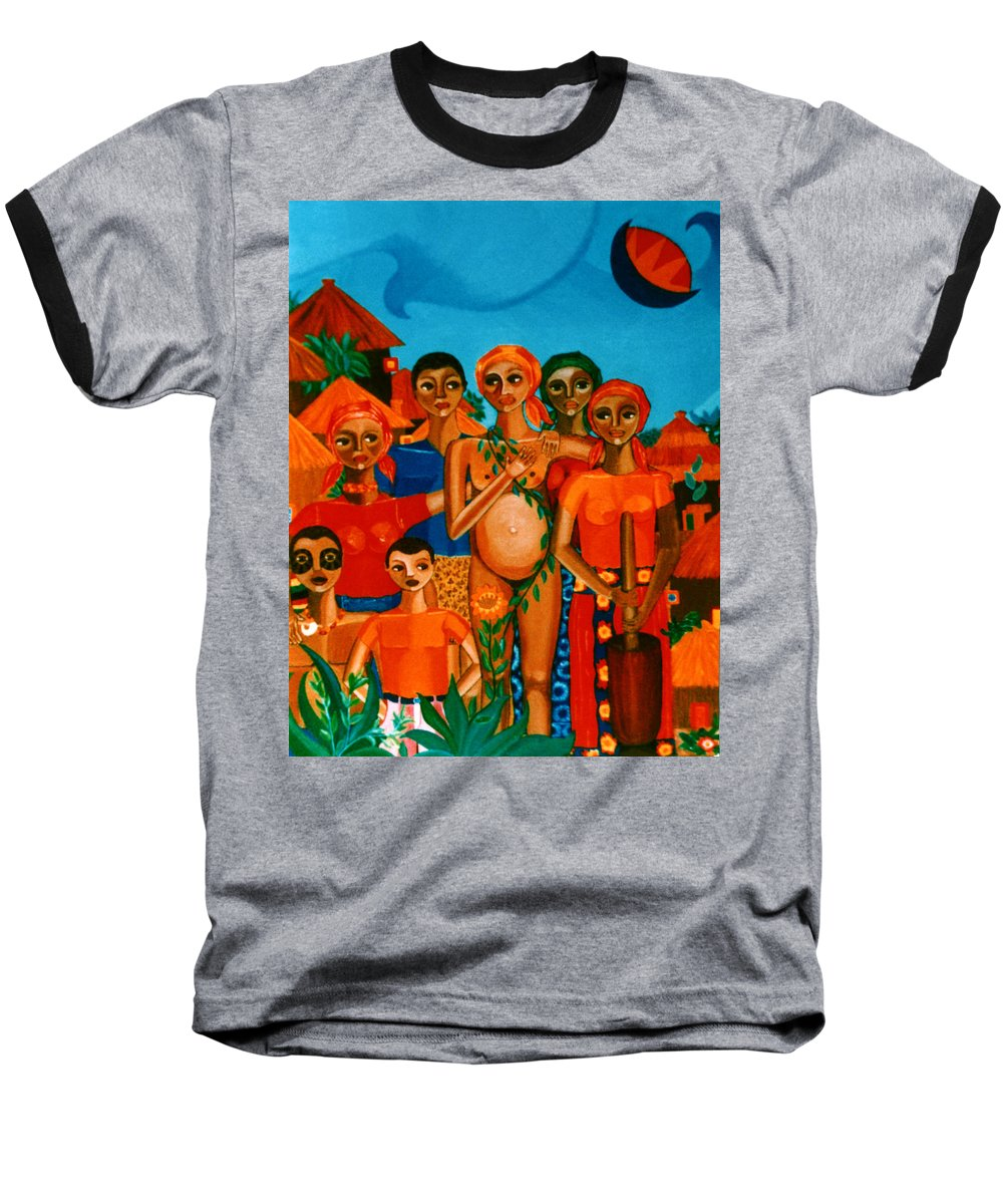 Pregnant Women Baseball T-Shirt featuring the painting There Are Always Sunflowers For Those Waiting A New Life by Madalena Lobao-Tello