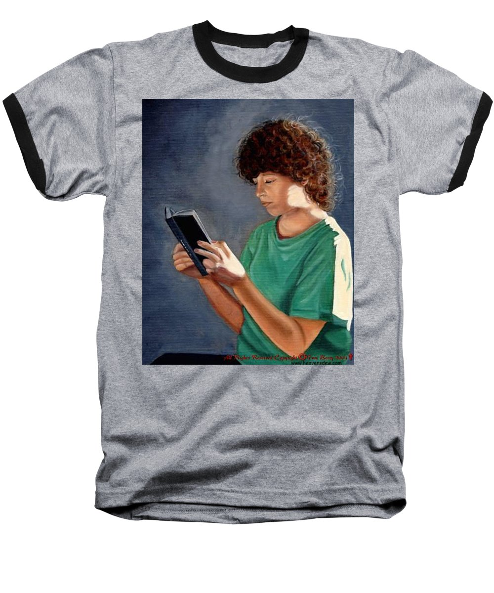 Portrait Baseball T-Shirt featuring the painting Thirst For Knowledge by Toni Berry