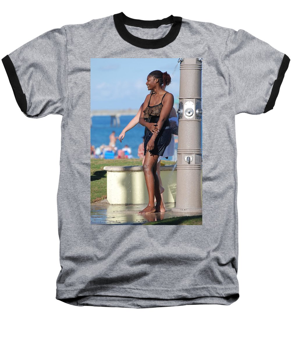 Bathing Suit Baseball T-Shirt featuring the photograph Three Arms At The Shower by Rob Hans