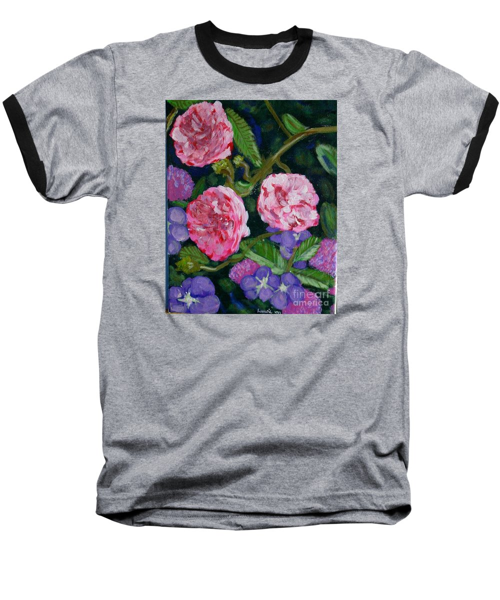 Roses Baseball T-Shirt featuring the painting Three For The Show by Laurie Morgan