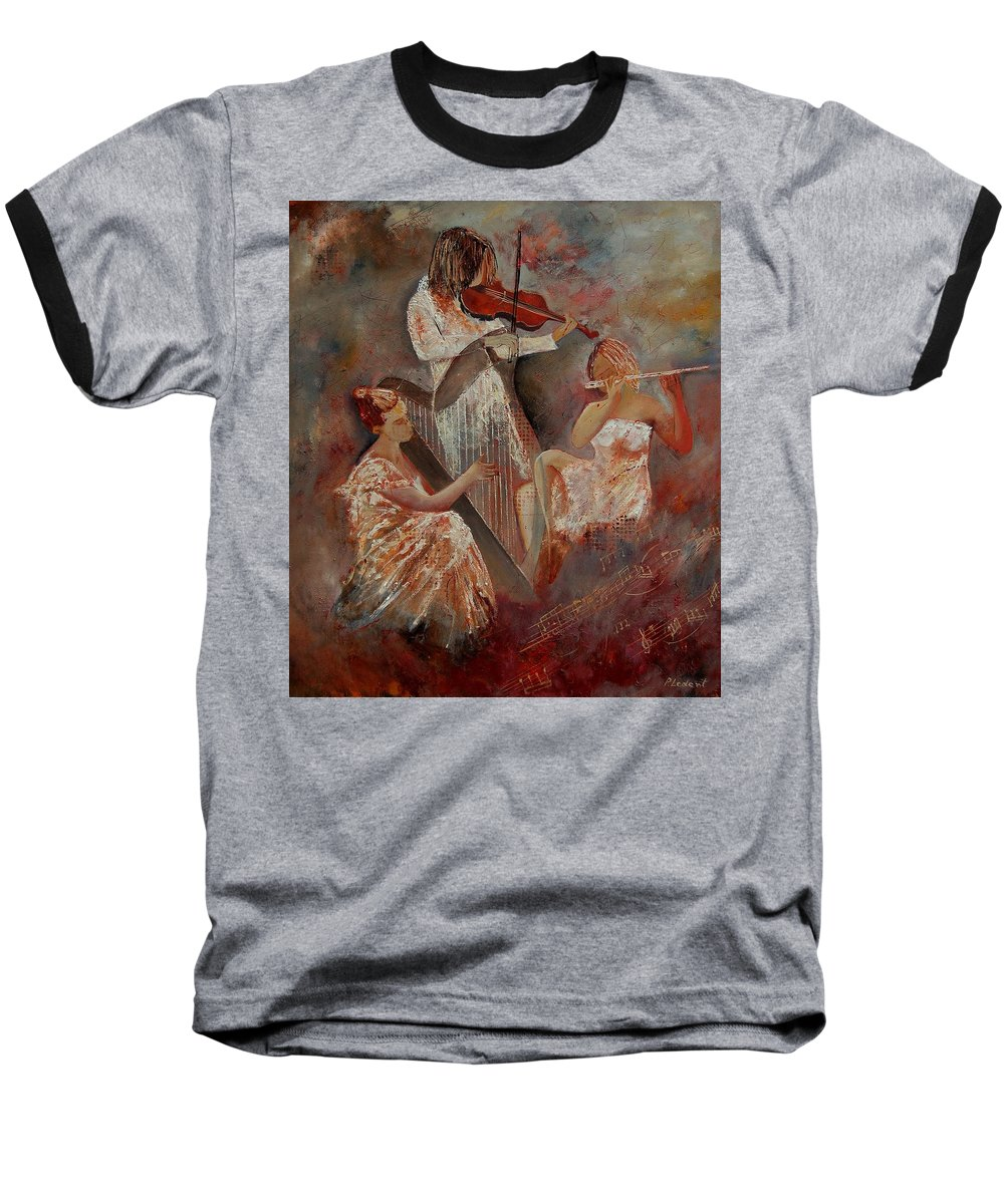 Music Baseball T-Shirt featuring the painting Three Musicians by Pol Ledent