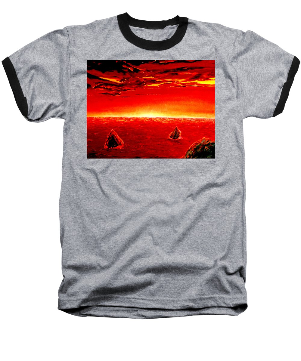 Seascape Baseball T-Shirt featuring the painting Three Rocks In Sunset by Mark Cawood