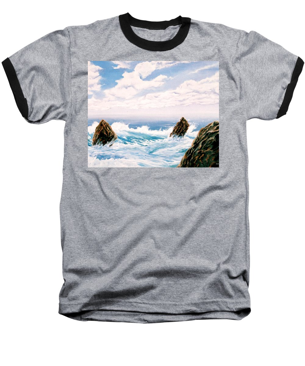 Seascape Baseball T-Shirt featuring the painting Three Rocks by Mark Cawood