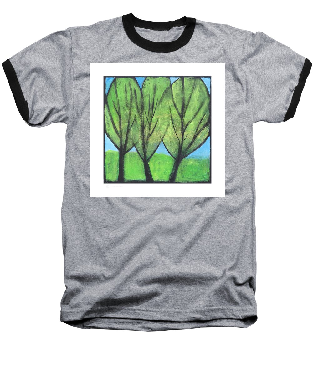 Trees Baseball T-Shirt featuring the painting Three Sisters by Tim Nyberg