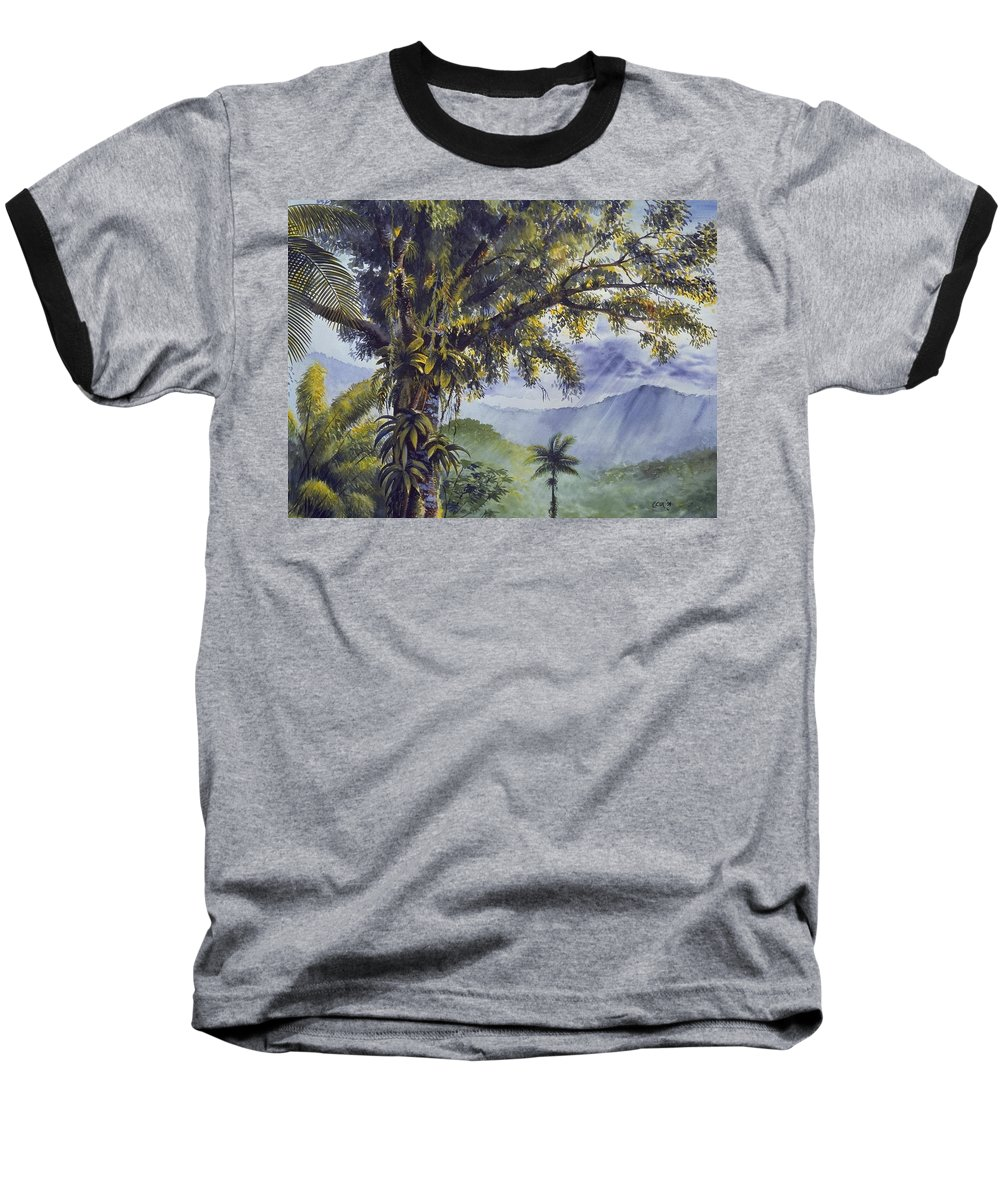Chris Cox Baseball T-Shirt featuring the painting Through The Canopy by Christopher Cox