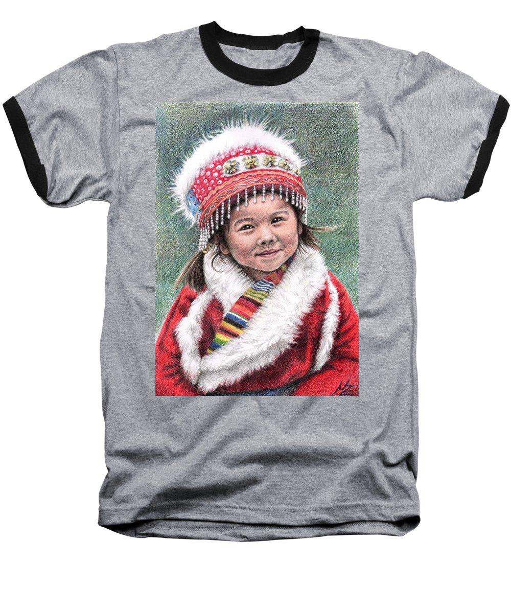 Girl Baseball T-Shirt featuring the drawing Tibetan Girl by Nicole Zeug