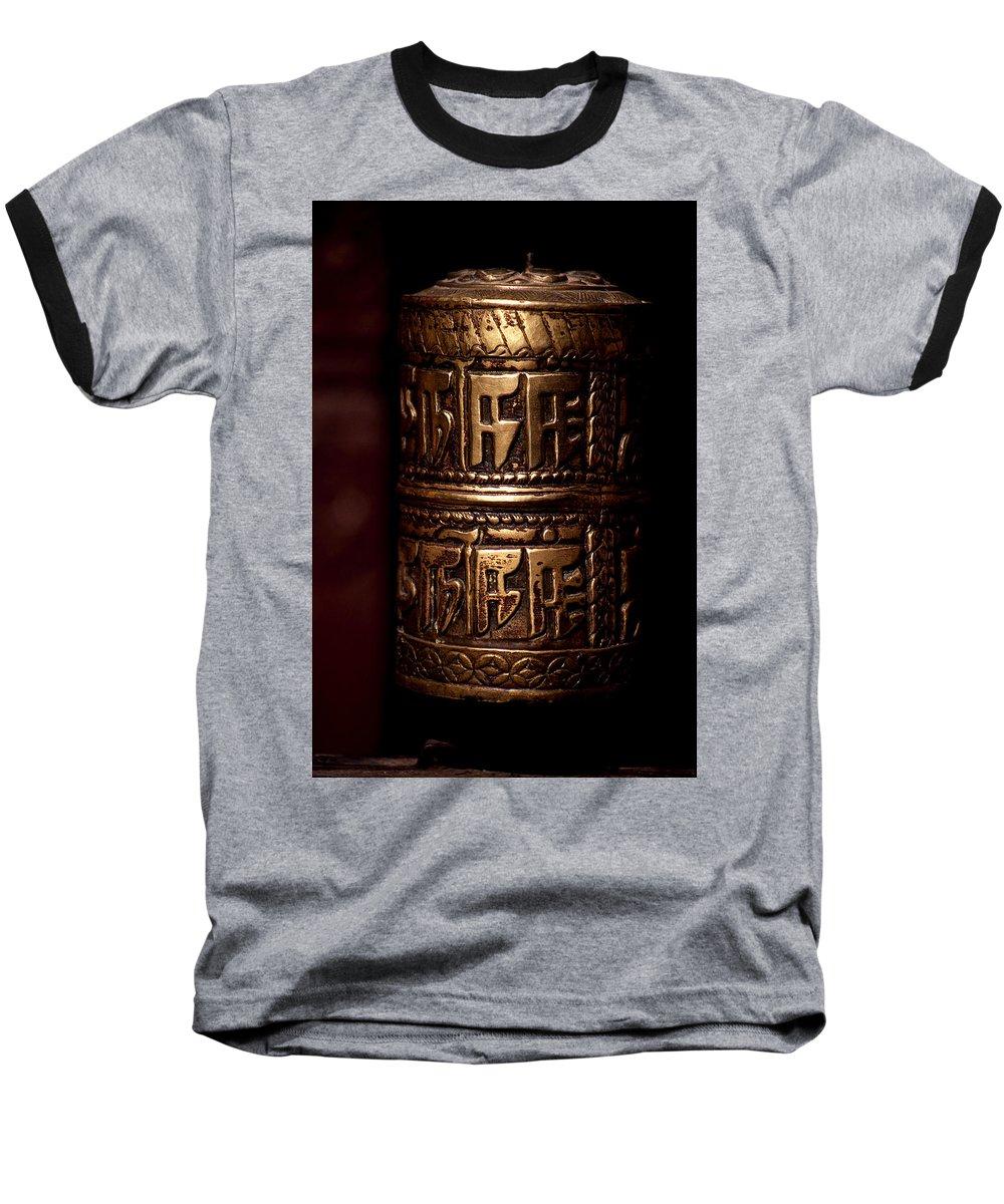Prayer Wheel Baseball T-Shirt featuring the photograph Tibetan Prayer Wheel by Patrick Klauss