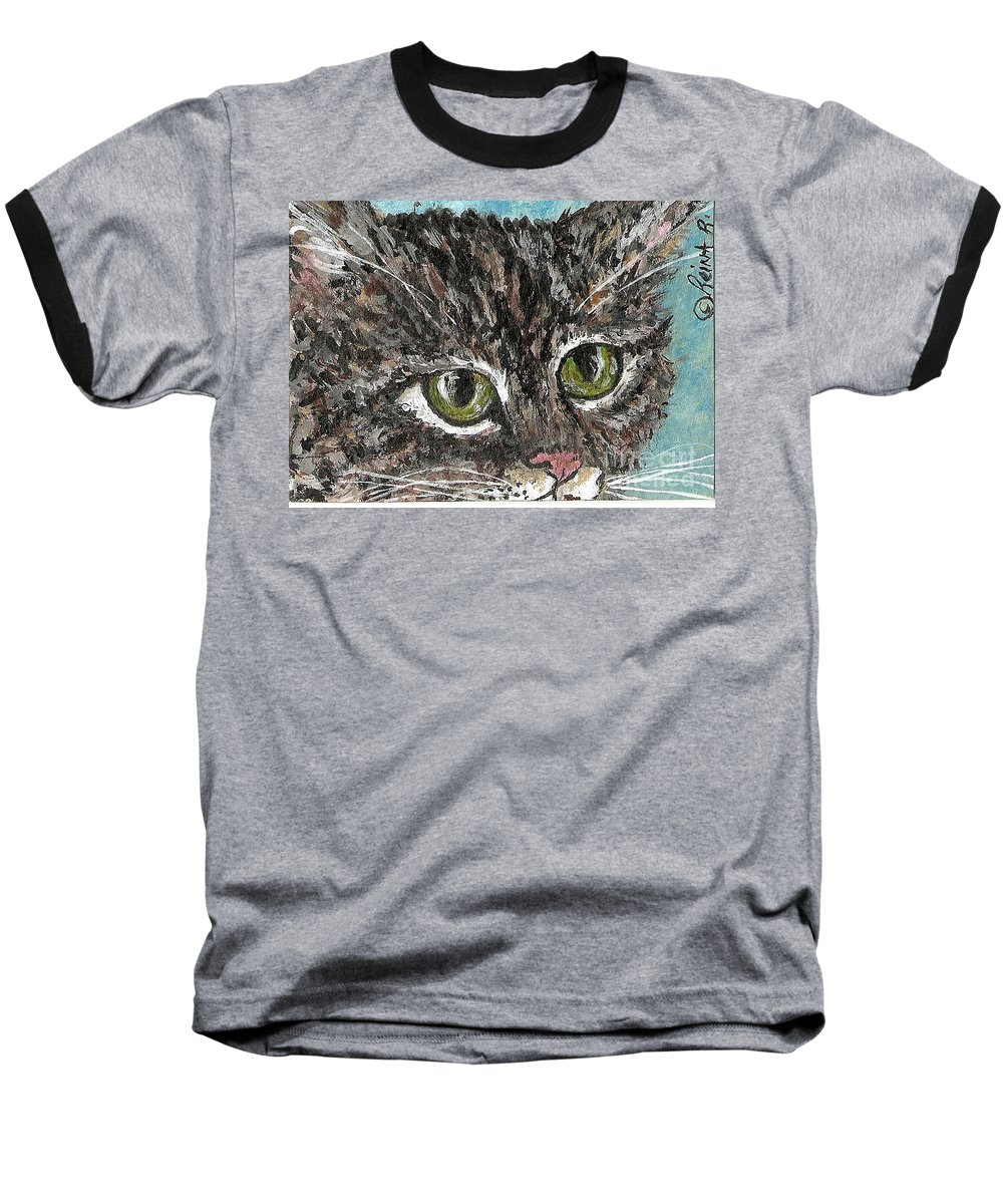 Cats Baseball T-Shirt featuring the painting Tiger Cat by Reina Resto