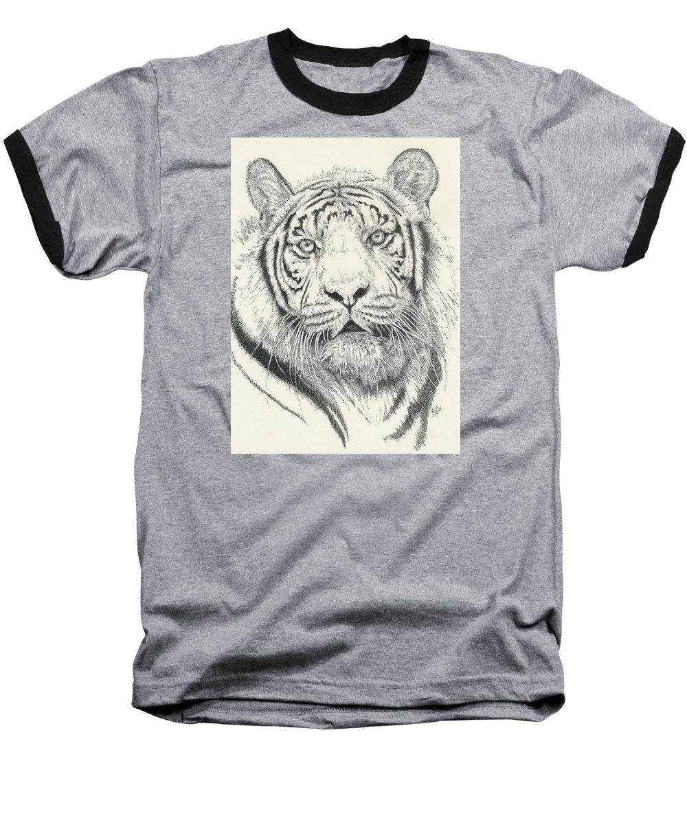 Tiger Baseball T-Shirt featuring the drawing Tigerlily by Barbara Keith