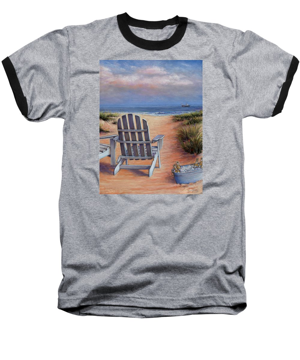 Landscape Baseball T-Shirt featuring the pastel Time To Chill by Susan Jenkins