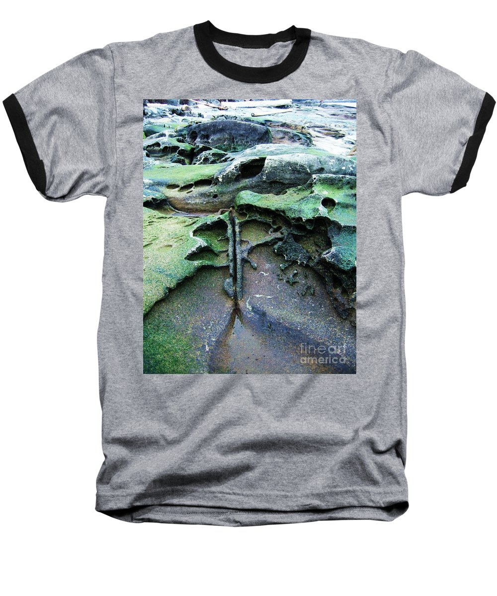 Photograph Rock Beach Ocean Baseball T-Shirt featuring the photograph Time Washed Out by Seon-Jeong Kim