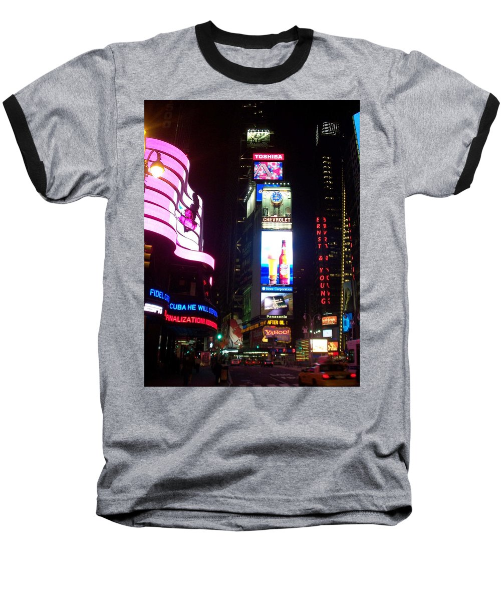 Times Square Baseball T-Shirt featuring the photograph Times Square 1 by Anita Burgermeister