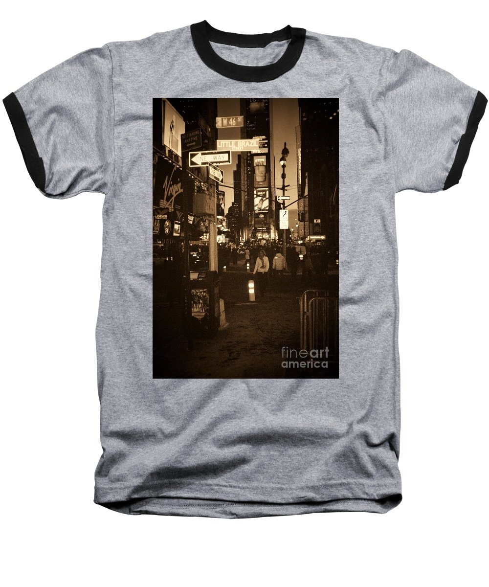 New York Baseball T-Shirt featuring the photograph Times Square by Debbi Granruth