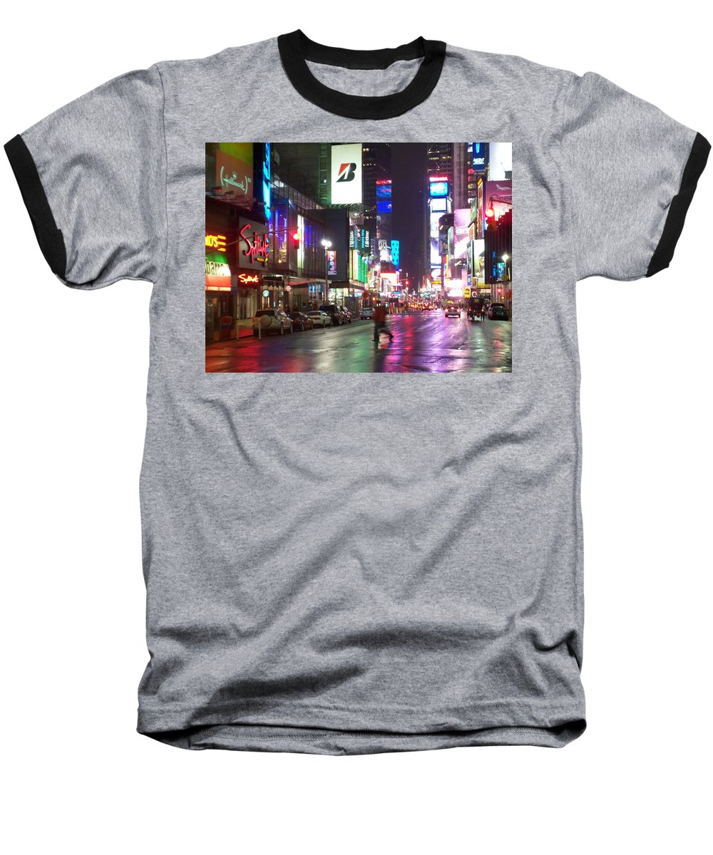 Times Square Baseball T-Shirt featuring the photograph Times Square In The Rain 2 by Anita Burgermeister