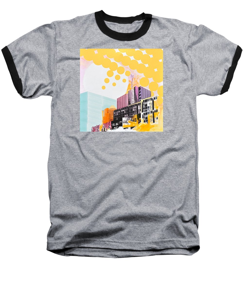 Ny Baseball T-Shirt featuring the painting Times Square Milenium Hotel by Jean Pierre Rousselet
