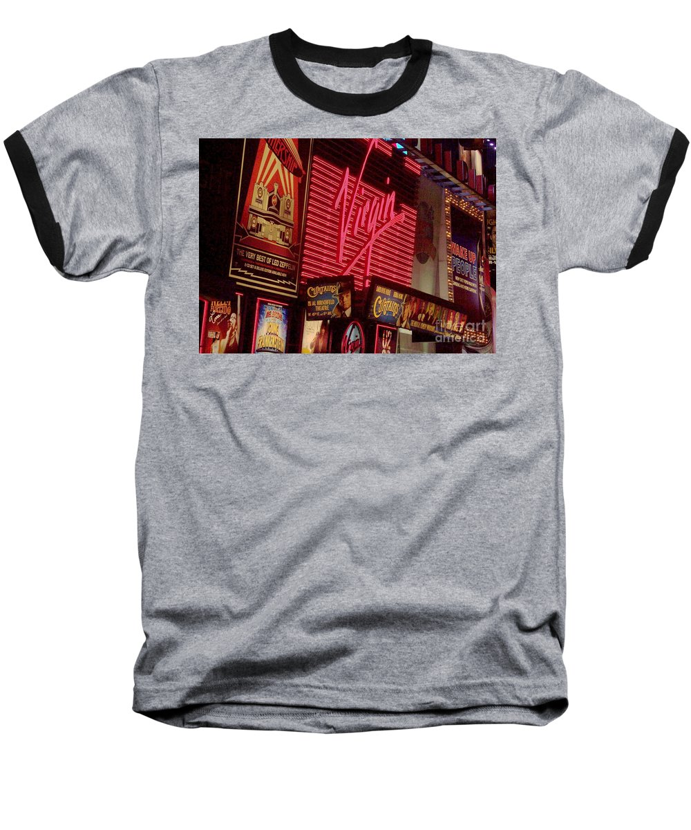 Times Square Baseball T-Shirt featuring the photograph Times Square Night by Debbi Granruth