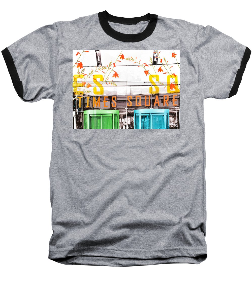 Ny Baseball T-Shirt featuring the painting Times Square Tower by Jean Pierre Rousselet