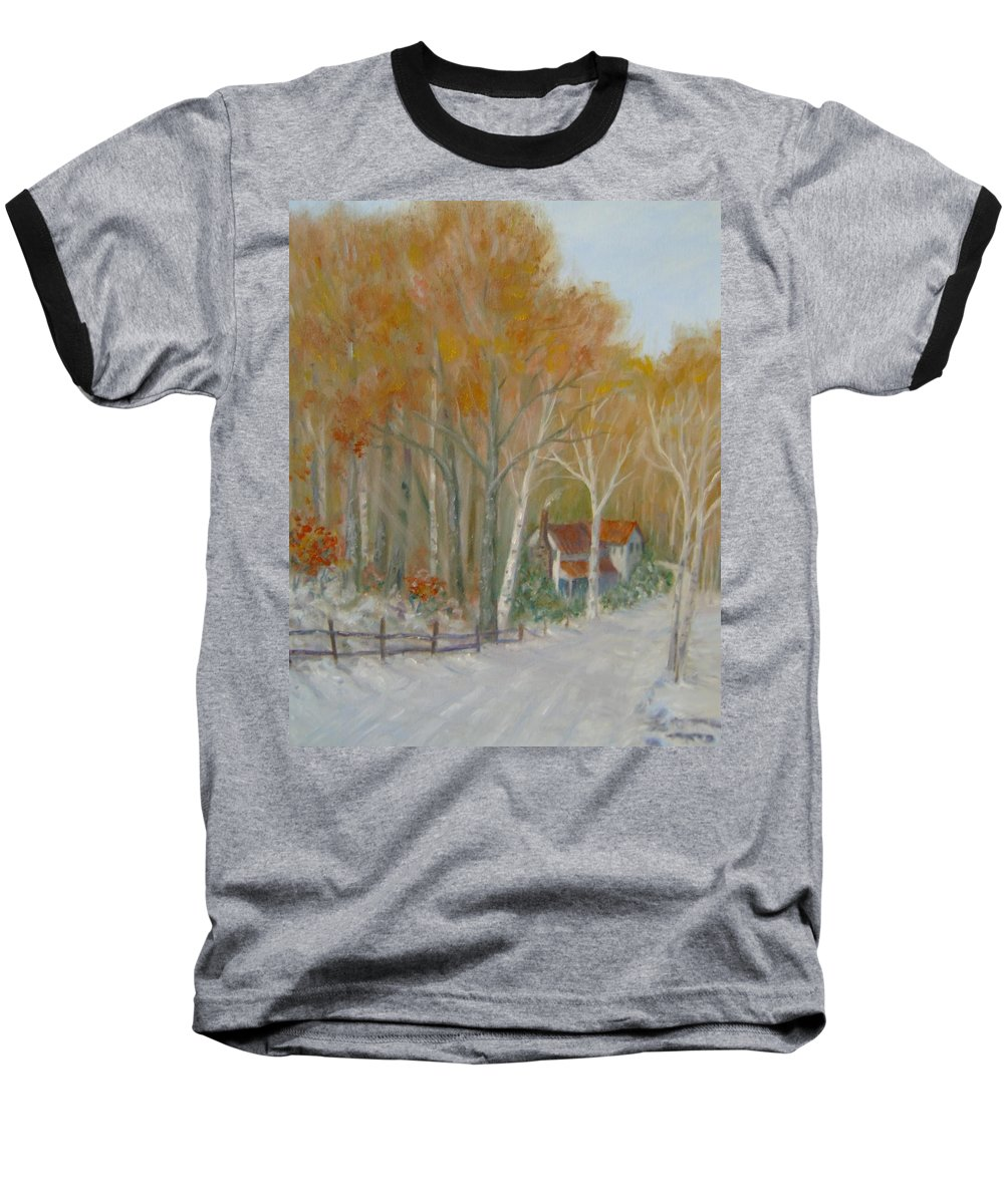 Country Road; House; Snow Baseball T-Shirt featuring the painting To Grandma's House by Ben Kiger
