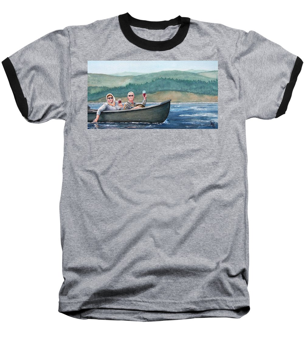 Canoe Baseball T-Shirt featuring the painting To Life by Gale Cochran-Smith