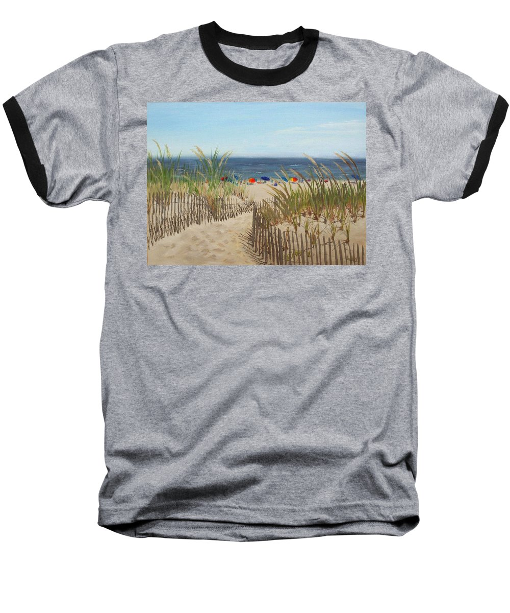 Beach Baseball T-Shirt featuring the painting To The Beach by Lea Novak