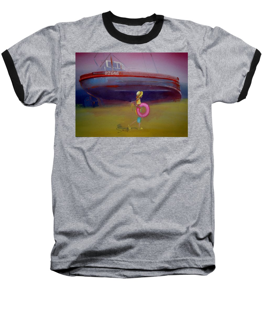 Penzance Baseball T-Shirt featuring the painting To The Lighthouse by Charles Stuart