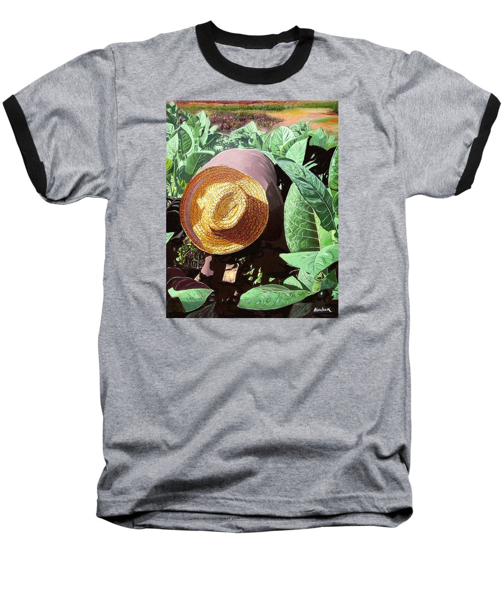 Tobacco Baseball T-Shirt featuring the painting Tobacco Picker by Jose Manuel Abraham