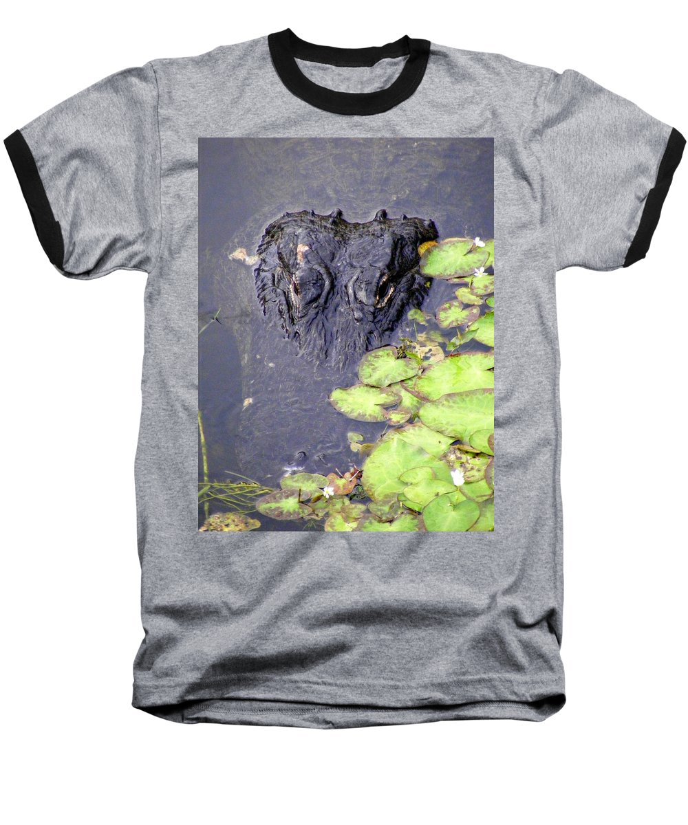 Swamp Baseball T-Shirt featuring the photograph Too Close For Comfort by Ed Smith