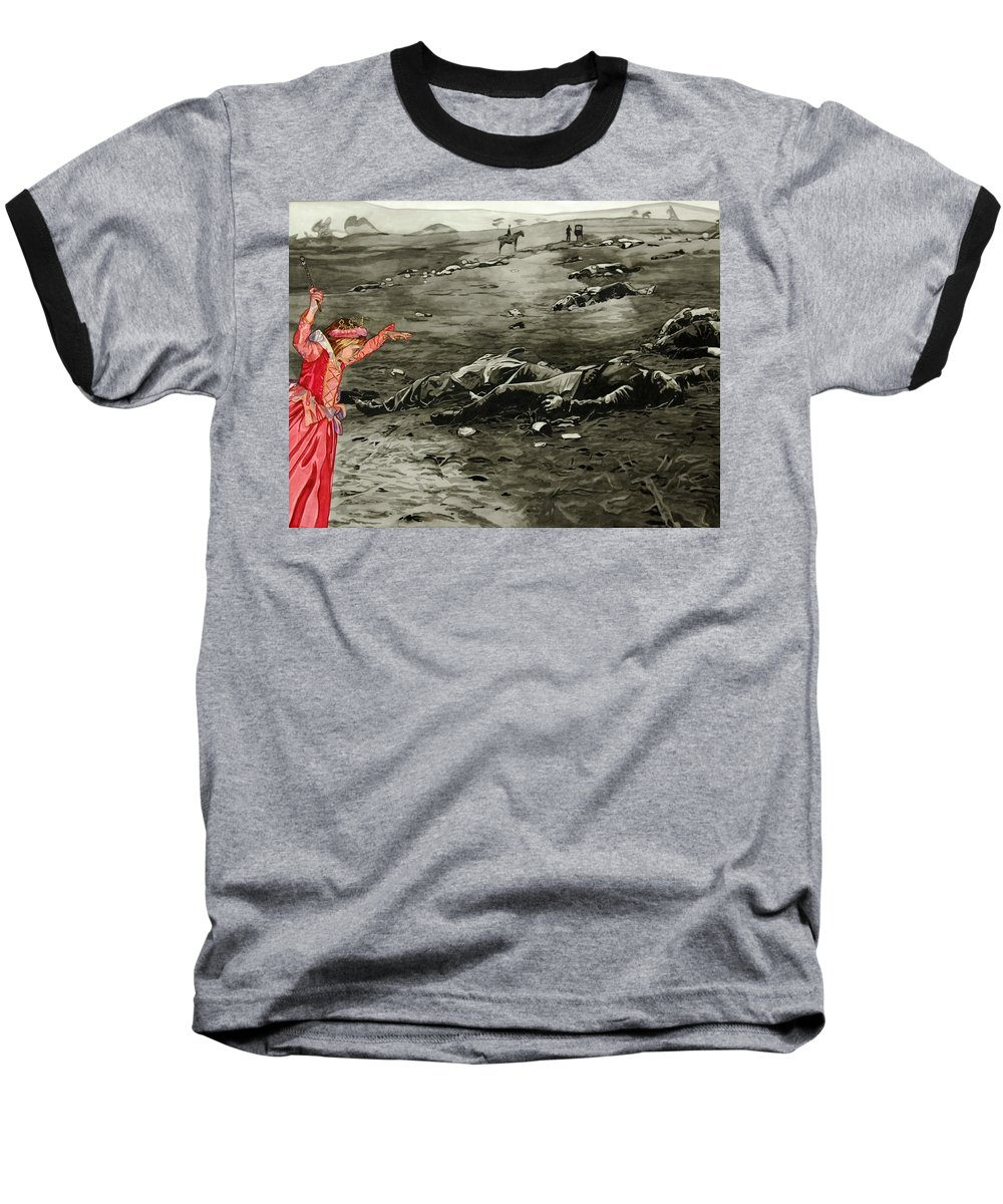 War Baseball T-Shirt featuring the painting Too Late by Valerie Patterson