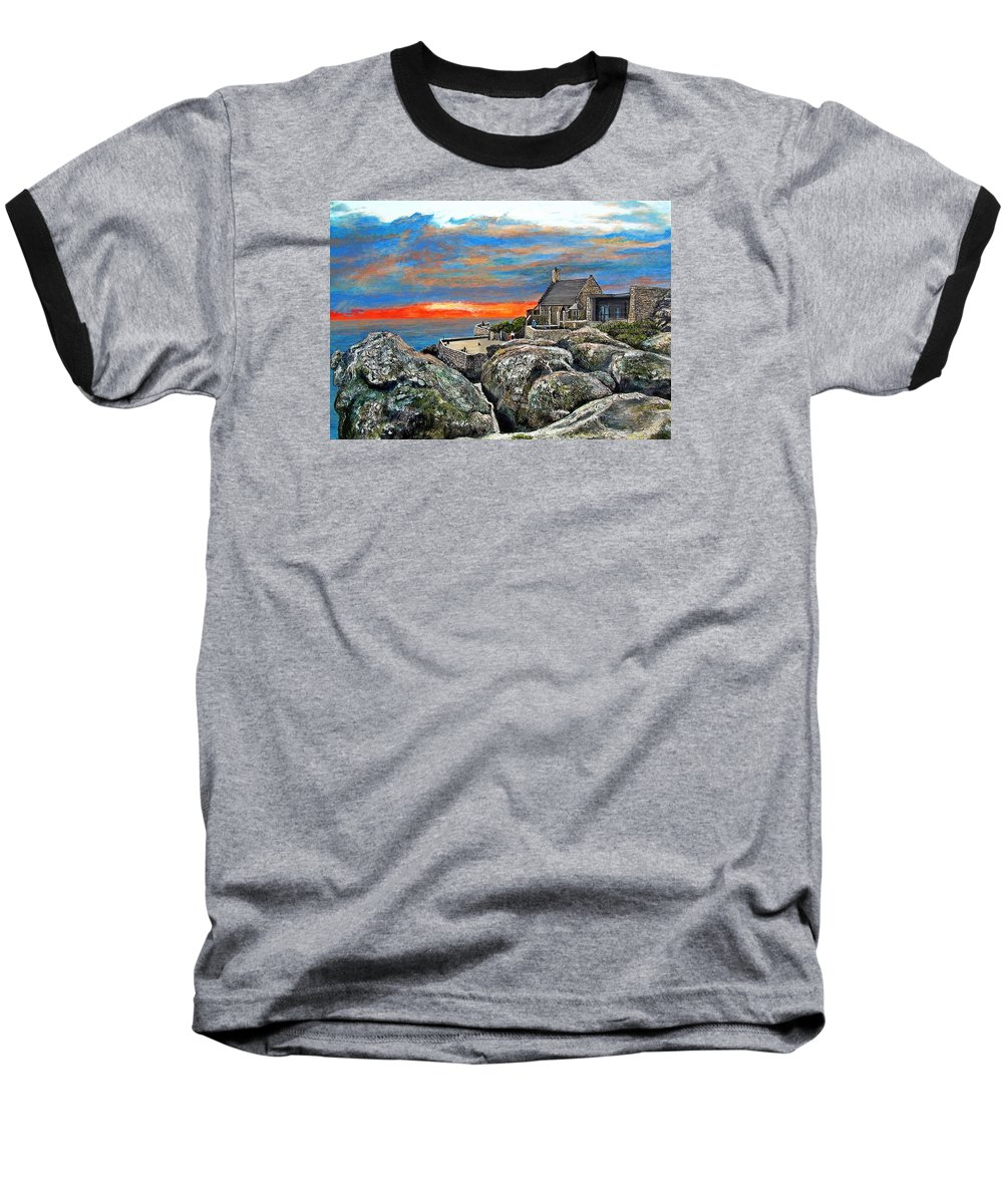 Sunset Baseball T-Shirt featuring the painting Top Of Table Mountain by Michael Durst
