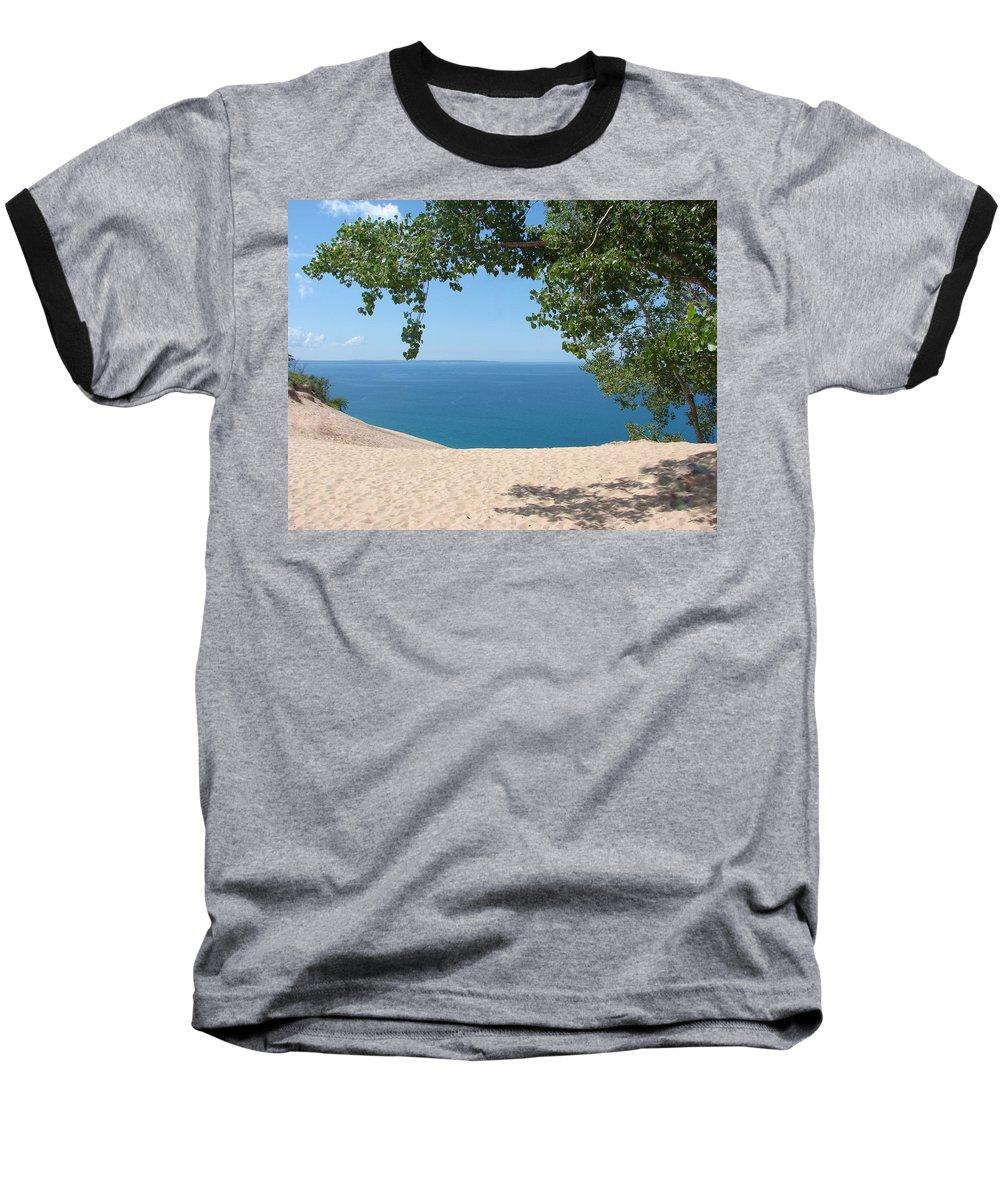 Sleeping Bear Dunes Baseball T-Shirt featuring the photograph Top Of The Dune At Sleeping Bear by Michelle Calkins
