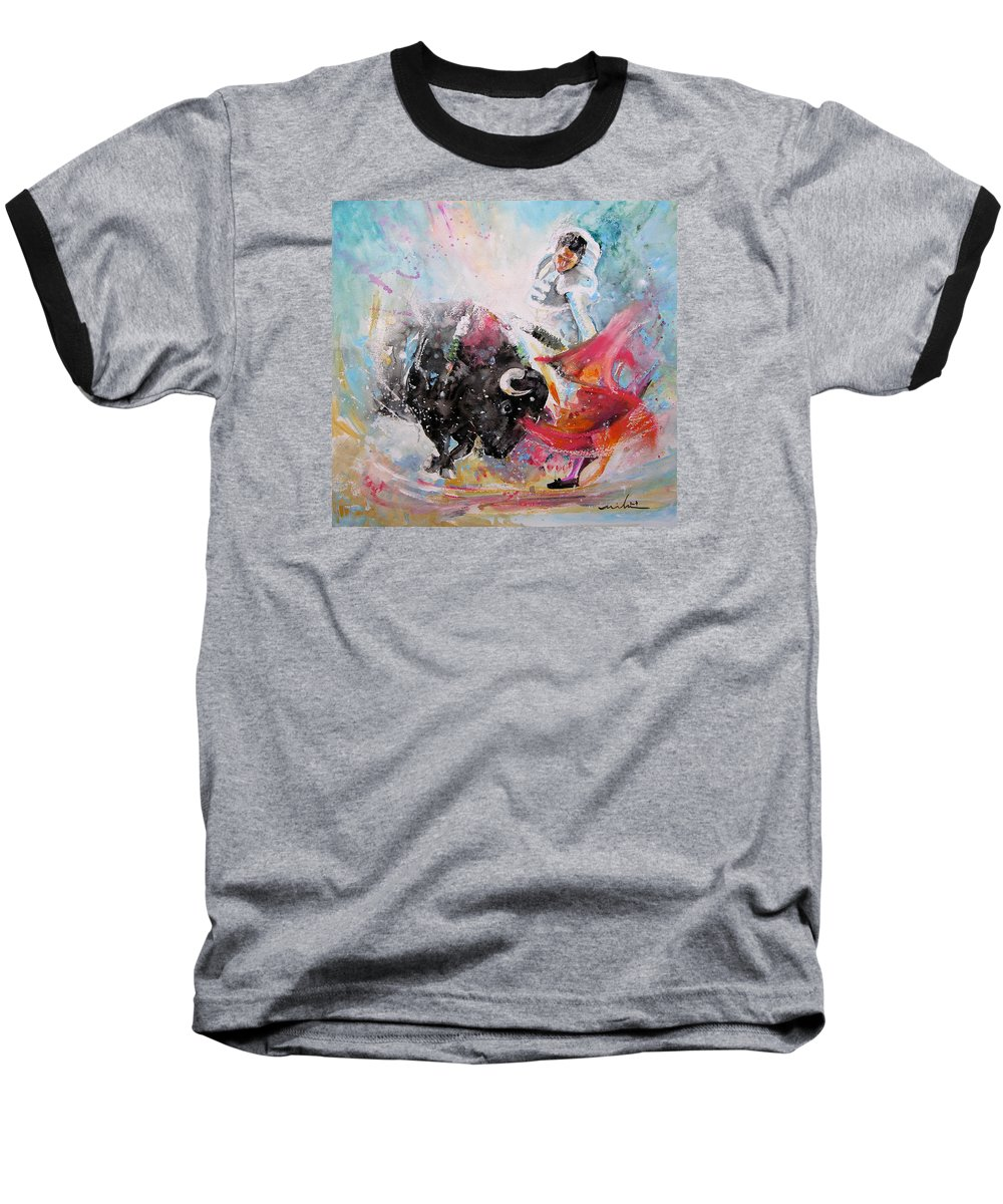 Animals Baseball T-Shirt featuring the painting Toro Tempest by Miki De Goodaboom