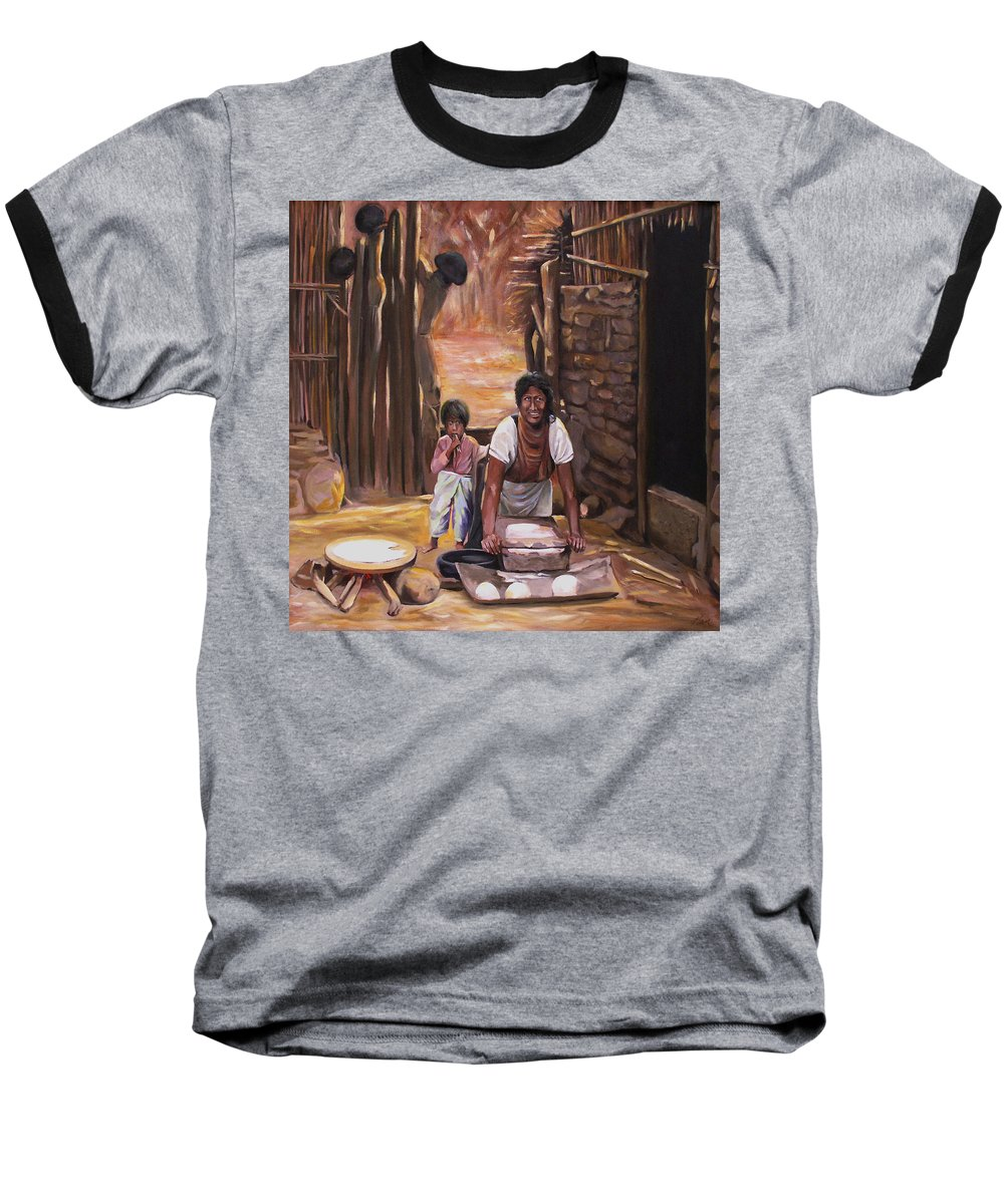 Mexican Baseball T-Shirt featuring the painting Tortillas De Madre by Nancy Griswold