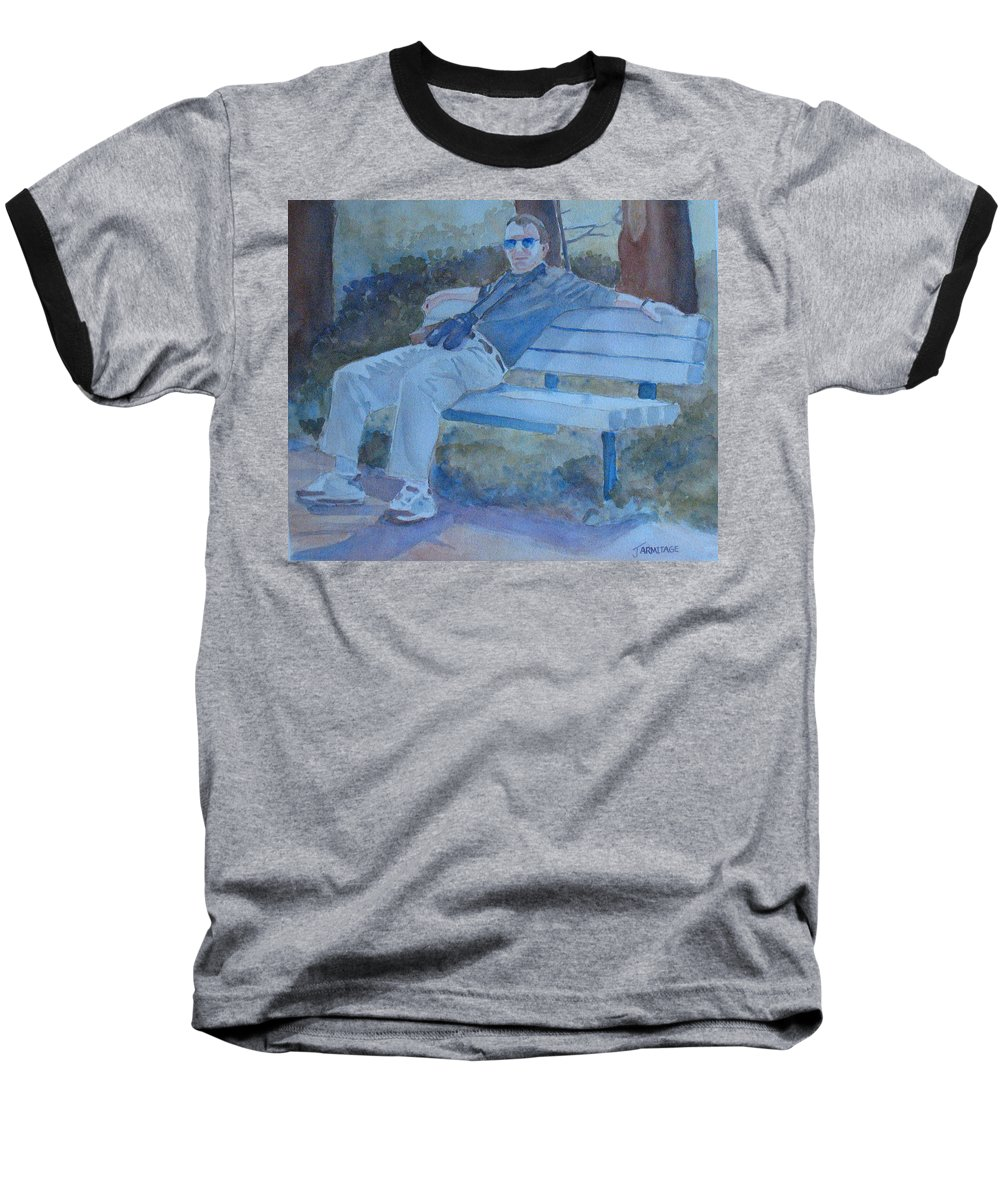 Tourists Baseball T-Shirt featuring the painting Tourist At Rest by Jenny Armitage