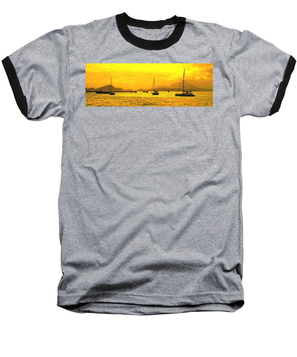 Basseterre Baseball T-Shirt featuring the photograph Towards Nevis by Ian MacDonald