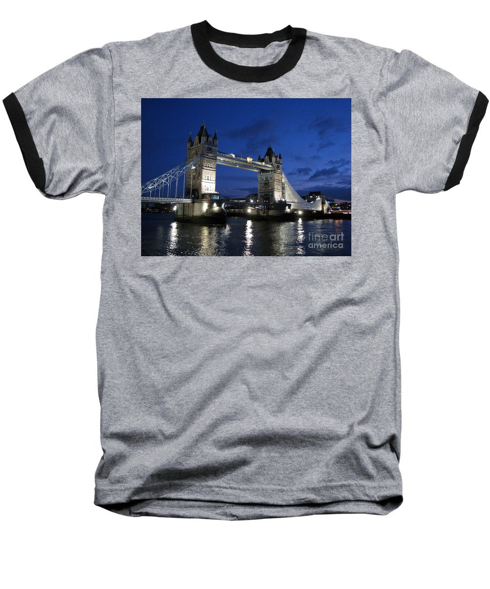 London Baseball T-Shirt featuring the photograph Tower Bridge by Amanda Barcon