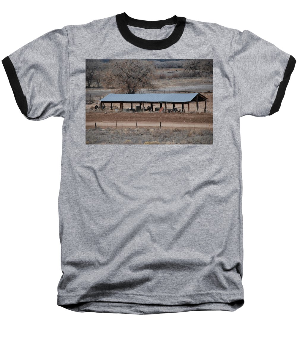 Architecture Baseball T-Shirt featuring the photograph Tractor Port On The Ranch by Rob Hans