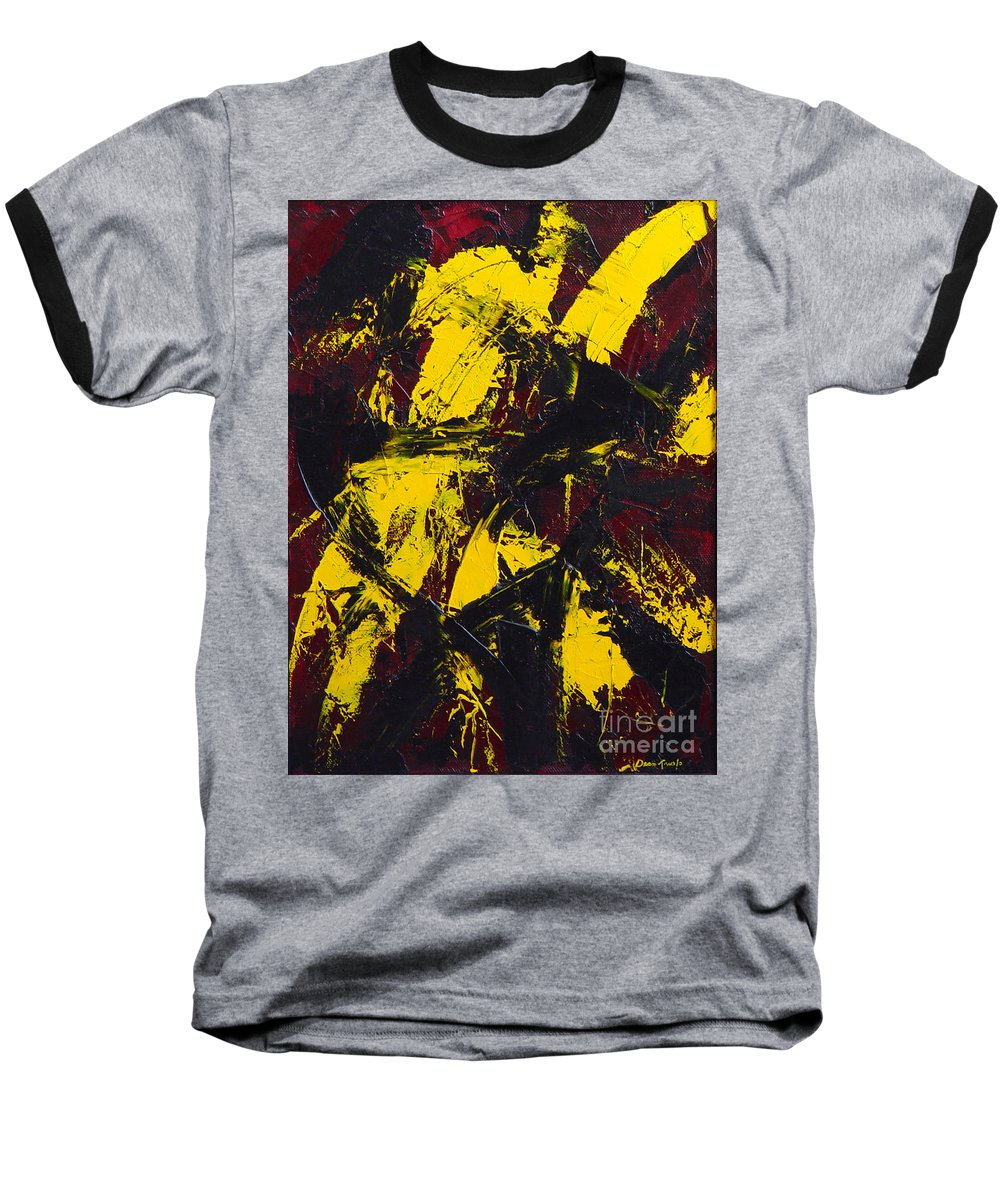 Abstract Baseball T-Shirt featuring the painting Transitions With Yelllow And Black by Dean Triolo