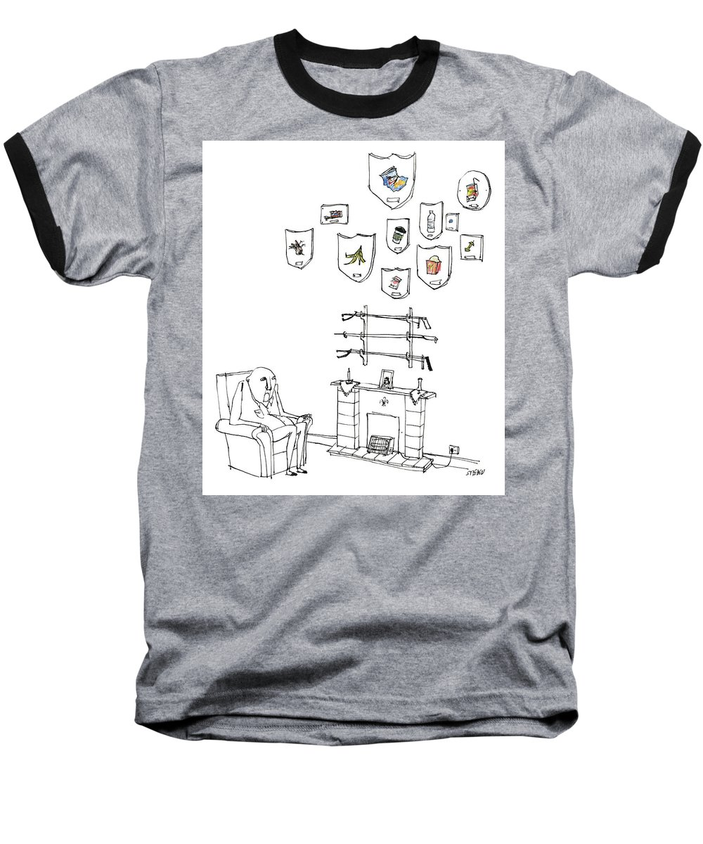 Captionless Baseball T-Shirt featuring the drawing Trash Trophies by Edward Steed