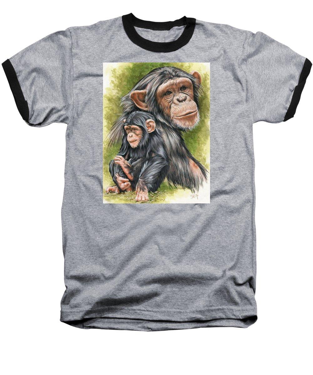 Chimpanzee Baseball T-Shirt featuring the mixed media Treasure by Barbara Keith