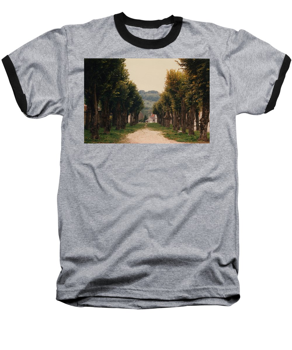 Trees Baseball T-Shirt featuring the photograph Tree Lined Pathway In Lyon France by Nancy Mueller