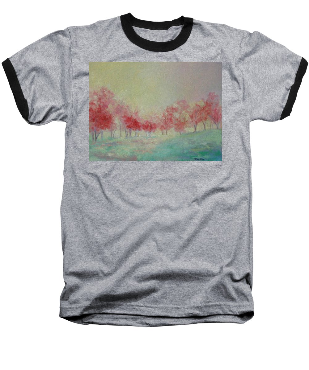 Impressionist Trees Baseball T-Shirt featuring the painting Treeline by Ginger Concepcion