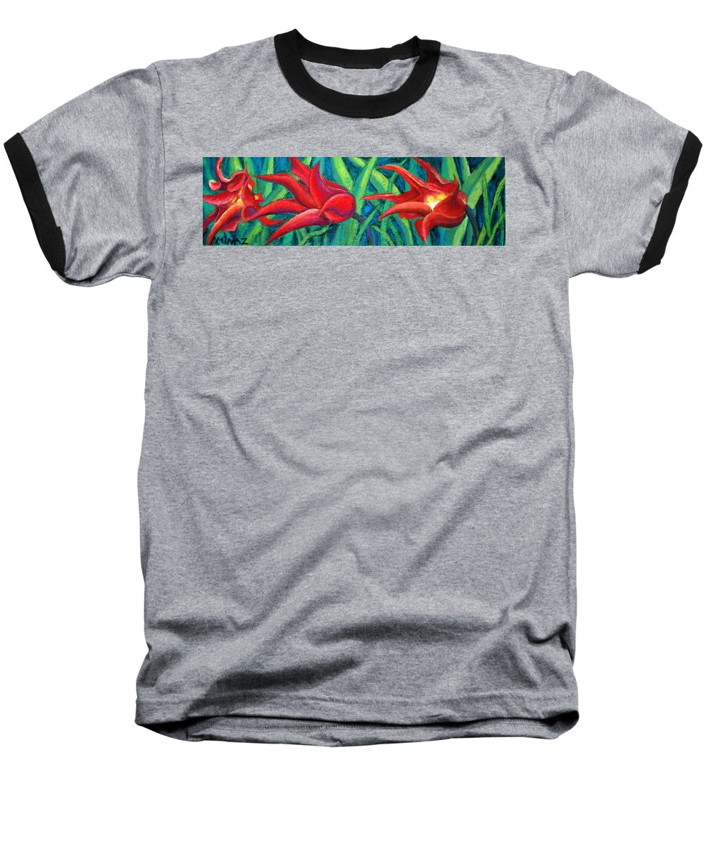 Tulips Baseball T-Shirt featuring the painting Triple Tease Tulips by Minaz Jantz