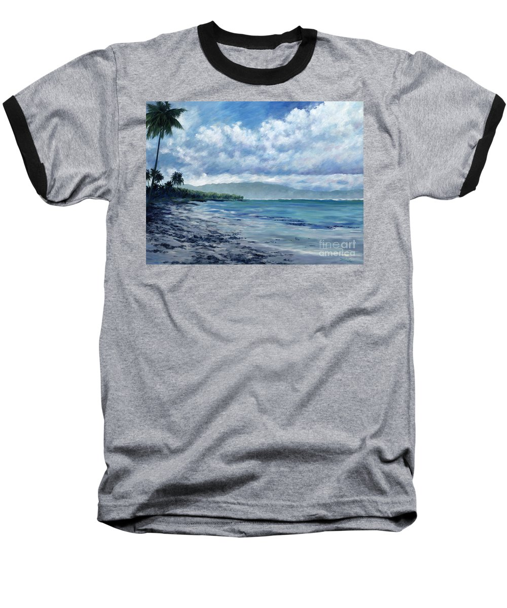 Seascape Baseball T-Shirt featuring the painting Tropical Rain by Danielle Perry