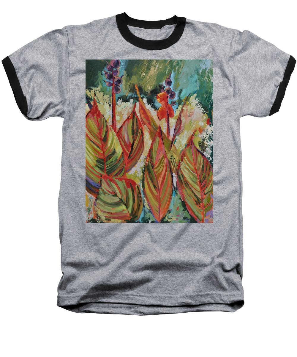 Tropicana Baseball T-Shirt featuring the painting Tropicana by Ginger Concepcion