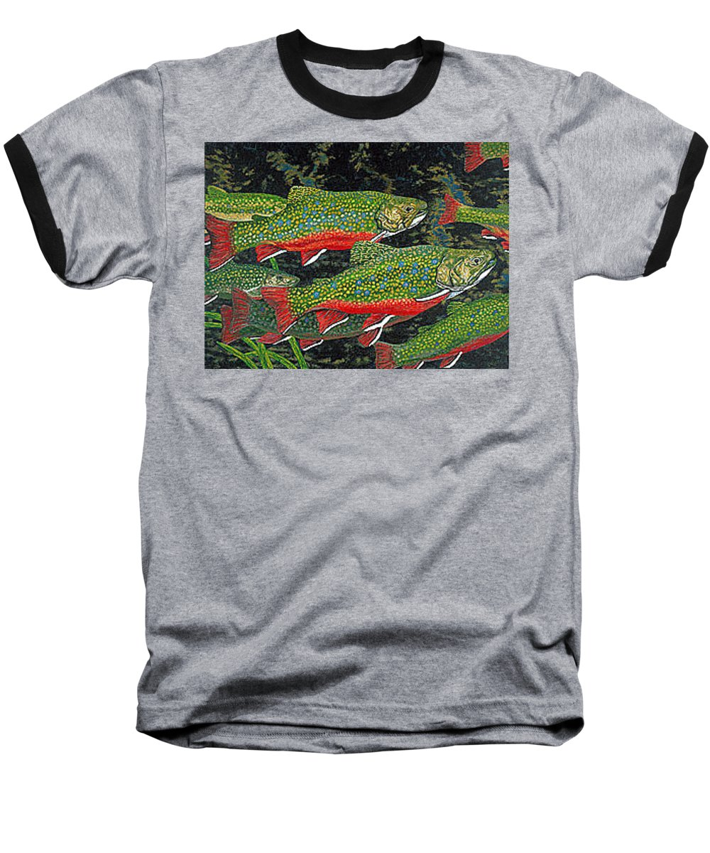 Art Baseball T-Shirt featuring the painting Trout Art Brook Trout Fish Artwork Giclee Wildlife Underwater by Baslee Troutman
