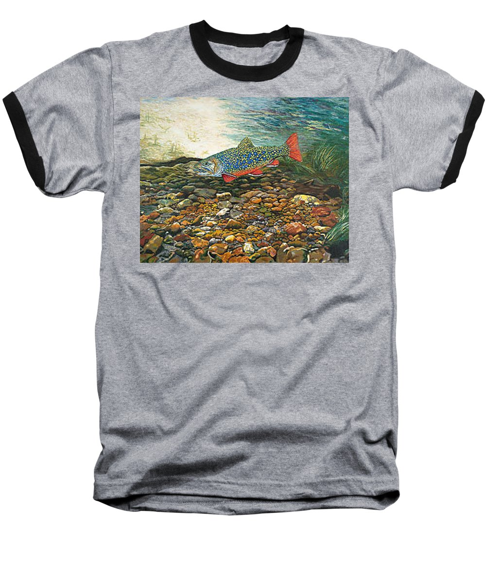 Art Baseball T-Shirt featuring the painting Trout Art Fish Art Brook Trout Suspended Artwork Giclee Fine Art Print by Baslee Troutman